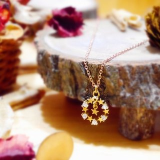 ❡ stars Zircon Brass necklace
