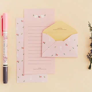 ARDIUM lovely pastel stationery group (a group of three) - Rose Bunny