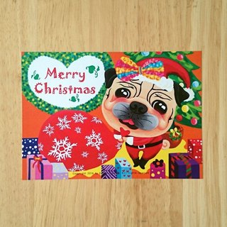 Postcard-Merry Christmas Pug-02