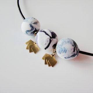 Marble Clay Necklace- Purple and Blue