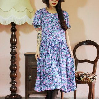 F1058 (Vintage) dark blue background pink floral cotton short-sleeved vintage dress (wedding / picnic / party)