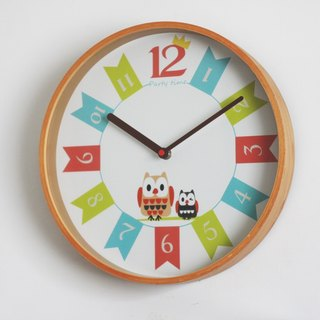 Owl's Party Wood Wall Clock
