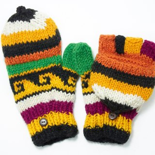 Valentine's Day gift limit a hand-woven pure wool knit gloves / detachable gloves / crochet gloves / warm gloves - Tropical national totem