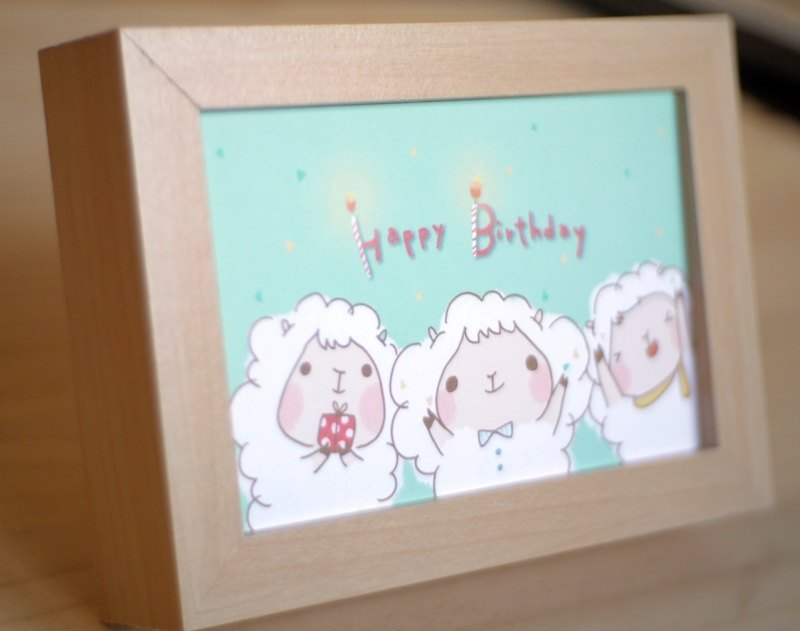 Postcards - three lamb birthday card