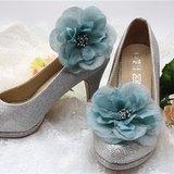 復古灰藍雪紡花鞋飾, 晚宴高跟鞋夾裝飾,新娘鞋