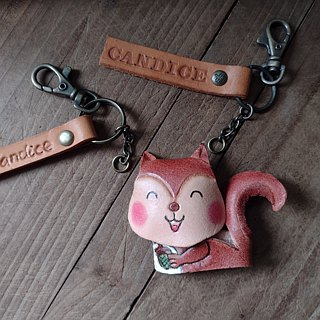 Miss Squirrel three-dimensional solid pure leather key paragraph - Customizable name