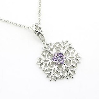 Hong Kong Design Sterling Silver Snowflake purple CZ stone necklace (22 & # 39;) classic simplicity snow
