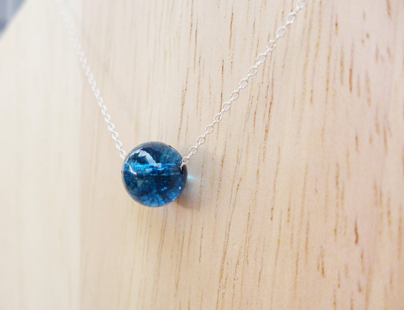 Handmade blue glass silver necklace [sea] - small universe series gift glass handmade special Valentine's Day