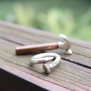 <☞ HAND IN HAND ☜> Silver - old nails ring (0778)