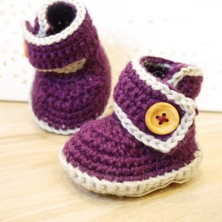 Handmade knit baby shoes - Pastel barreled shoes (purple)