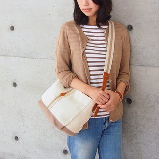 [Expense limited edition] Japan leisure cotton and linen side backpack rice white Made in Japan by CLEDRAN