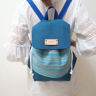 When the national blue case of blue beam backpack / Free printed English leather label
