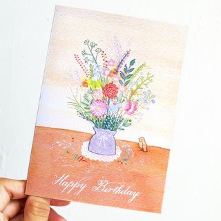 Flower and little bird - greeting card