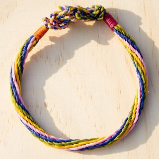 Valentine's Day gift exchange gift birthday gift colorful knitting color mixing rope / surfing rope - striped four-color silk wax line (custom)
