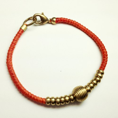 Fanta time. Simple series ◆ Sugar Nok ◆ hand-knitted wax cord bracelet brass