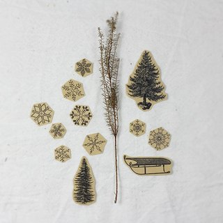 ✡ small scene - a fir snow snow sled ✡ 12 hand-painted kraft paper illustrator stickers