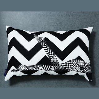 [Memorable] handmade serigraphy geometric lumbar pillow / pillow cover