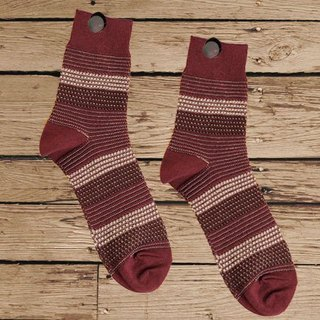 Lin Guoli granule color tweed socks wine red