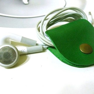 GREEN STAGE handmade leather - headphone hub - Storage Case - Brazilian soccer green