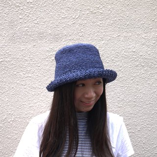Mama の Hand-made cap - Summer Zhisheng caps - simple round cap in dark blue / foldable - easy storage / glossy micro waterproof