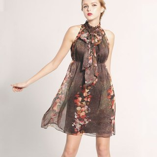 TwinkleCat Classical rose print chiffon bow waist dress Galaxy Star