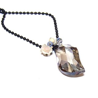 Diamond crystal long necklace