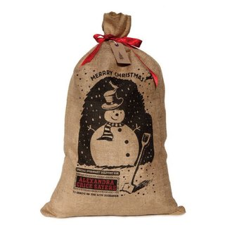 British handmade happy snowman Christmas hemp bag / gift bag (large)