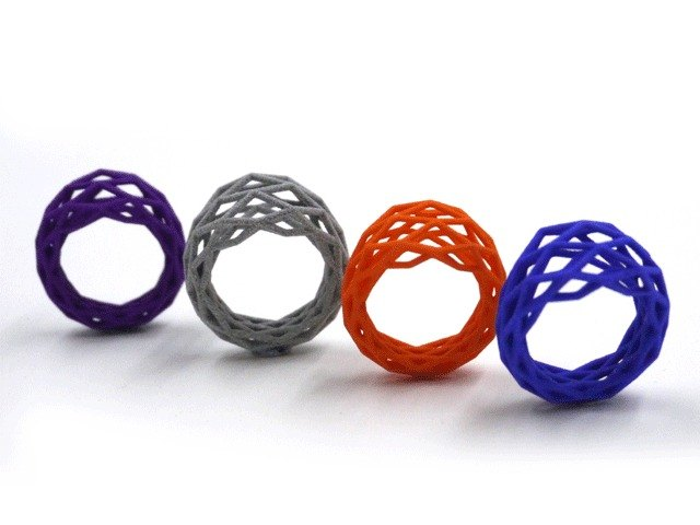 3D printing accessories Ring - Three Dimensional Printing x Grid Geometry Ring (nylon fibers)