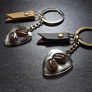 Pick coffee key ring special material coffee bean key ring pick shape real coffee bean creation