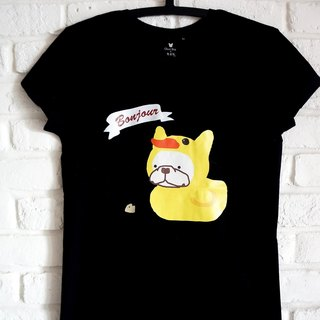 [Fighting duckling T-shirt]-girl short version / long version-black