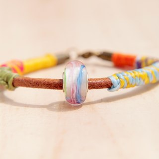 / Valentines Day gifts / leather braided silk hand wax wire rope - colorful candy glass