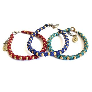 [UNA- excellent Na] handmade wax line silk around the world ▲ ▲ customized brass bracelet