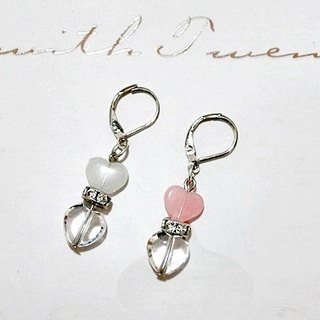 Alloy * double-sided love * _ hook-style earrings - luminous // two-color style - # Valentine's Day gift # # Tanabata ceremony #
