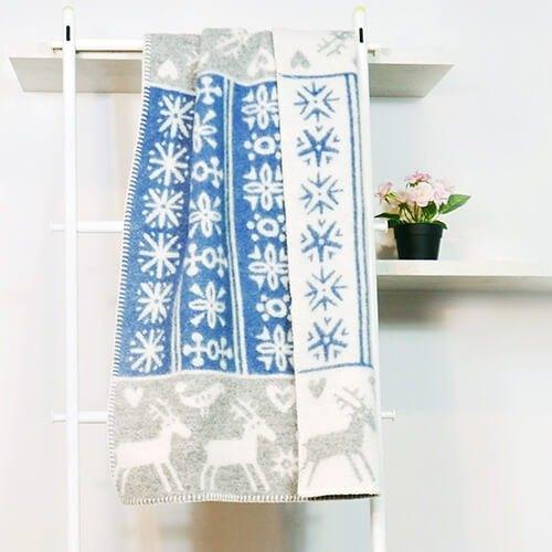 【保暖小被】瑞典Klippan有機羊毛毯-北歐極光小精靈 (藍色)
