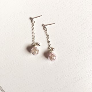 *Haku‧Neko*pink glass ball long earrings flashing silver small stars