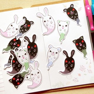 Animal Ghosts Stickers - 12 Pieces - Planner Stickers - Scrapbooking Stickers
