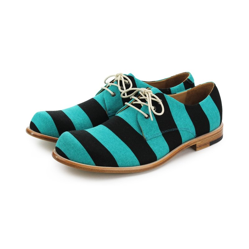 Sweet Villians M1126A 手工真皮線條男德比鞋 藍黑條紋