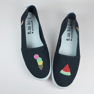 Black cotton canvas hand made shoes summer cool watermelon + ice cream without weaving