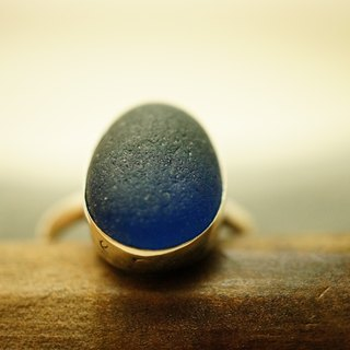 【janvierMade】England Seaglass Sterling Silver Ring / Genuine Cobalt Seaglass Ring / 925 Sterling Silver Handmade