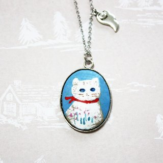 Cat hiding in the clouds --- enamel long chain