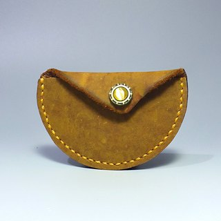 [Workshop] ANITA hand-made hand-thick pounds Crazy Horse leather X Opal semicircle shape of small objects bag / purse - Specials