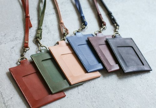 Handmade leather ID card case / holder/ badge holder