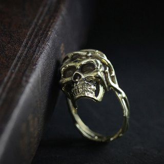 Human Skull with Thorn Crown Ring by Defy - Original Handmade Jewelry - Statement Accessories