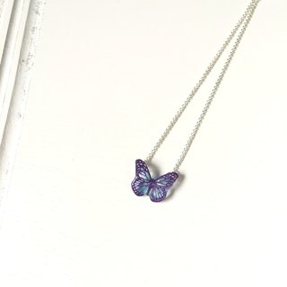 * Haku‧Neko * Hand painted purple pattern pink butterfly necklace