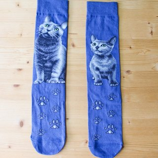 JHJ Design Canada brand series high saturation knitting socks cat Russian Blue (Female) cute kitty cat