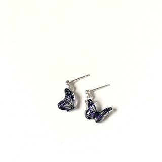 * Haku‧Neko * Hand-painted purple butterfly earrings (two butterfly pattern)