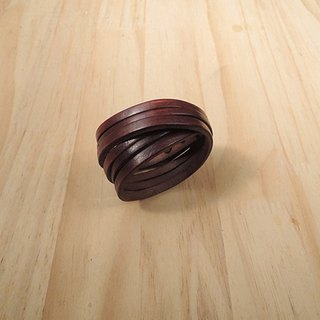 Handmade genuine leather bracelet classic classic series - calm brown