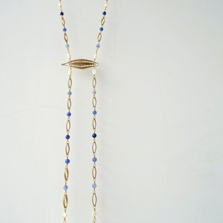 ::Mediterranean Eyes:: Sodalite and Shell Double Beaded Drops with Eye-Shaped Brass Filigree Copper Necklace