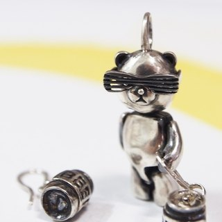 Shabon Lee silver designer toy jewellery figure - Bear Alliance - Party Bear . Exclusive 925 sterling silver action figure necklace pendant (beer earring not included)