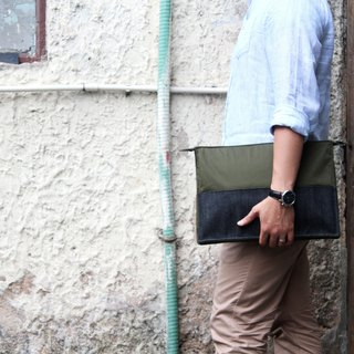 "Indigo Denim Cargo 13"" Laptop Computer Macbook Sleeve -Olive Green"